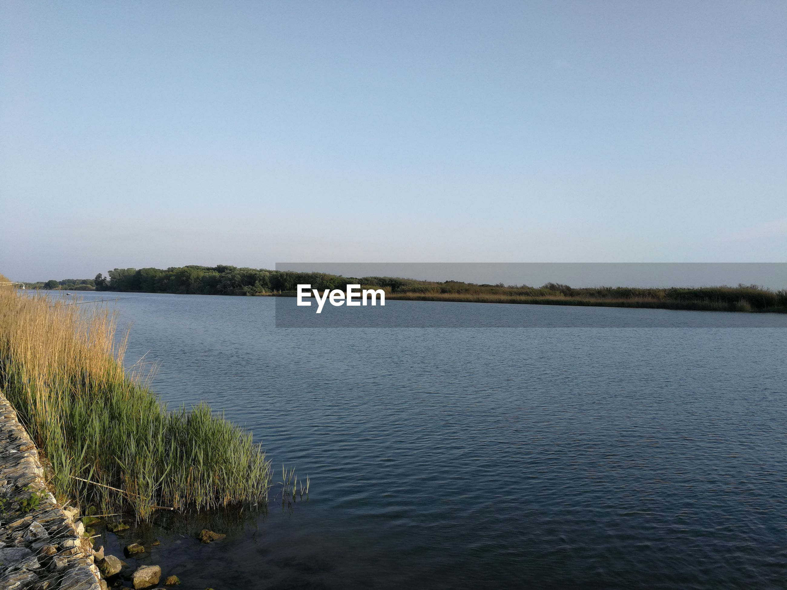 PANORAMIC VIEW OF LAKE AGAINST CLEAR SKY