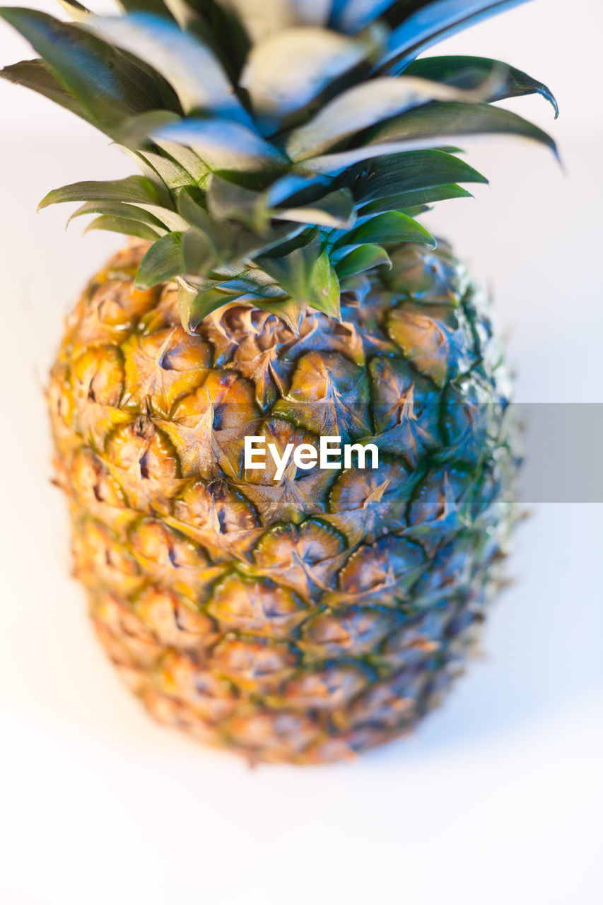 pineapple, indoors, close-up, still life, tropical fruit, studio shot, wellbeing, healthy eating, no people, green color, freshness, food, food and drink, plant, fruit, white background, selective focus, nature, decoration, leaf