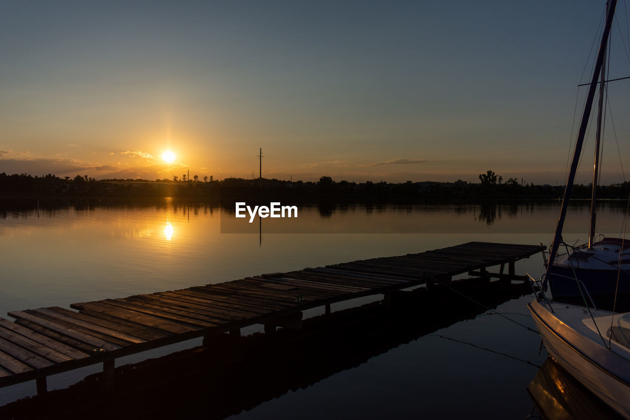 VIEW OF LAKE AT SUNSET