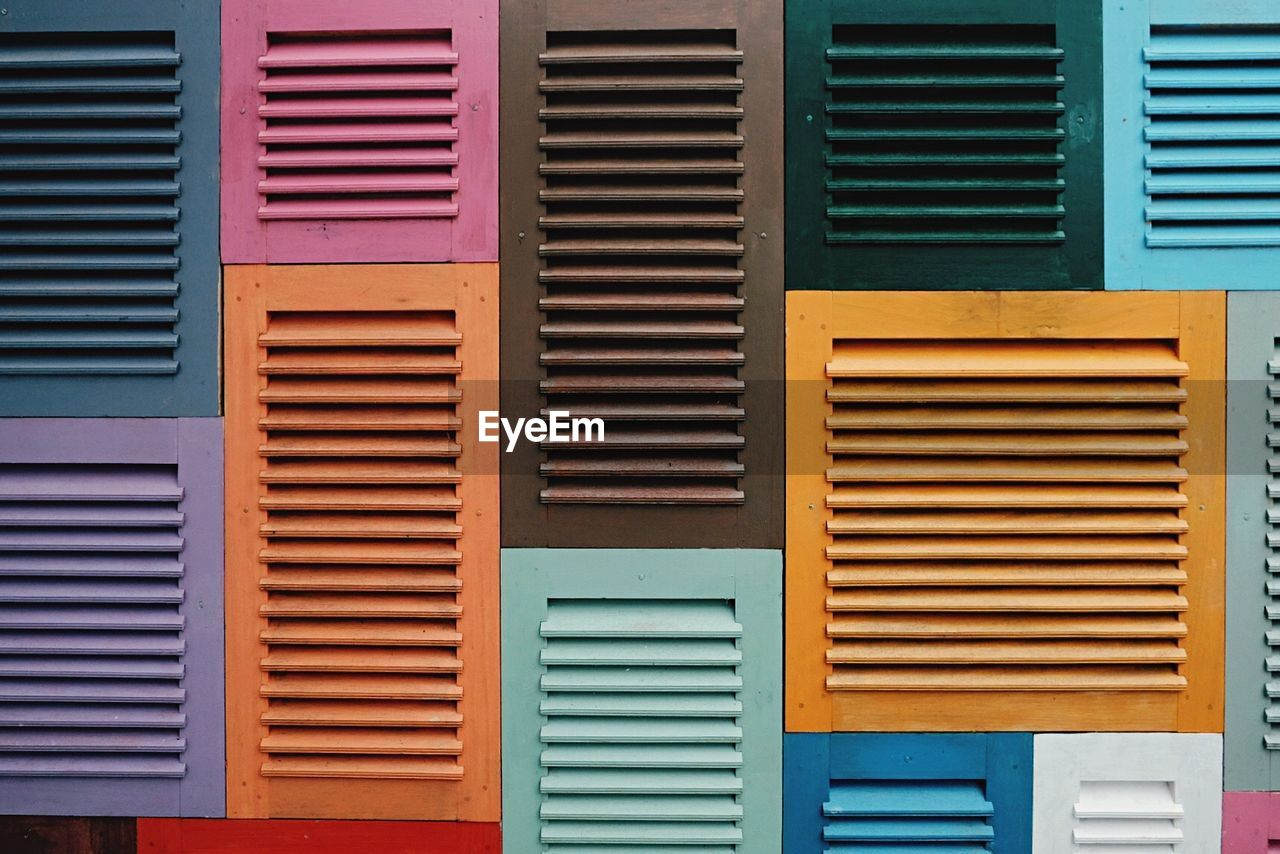 Full Frame Shot Of Colorful Window Shutters