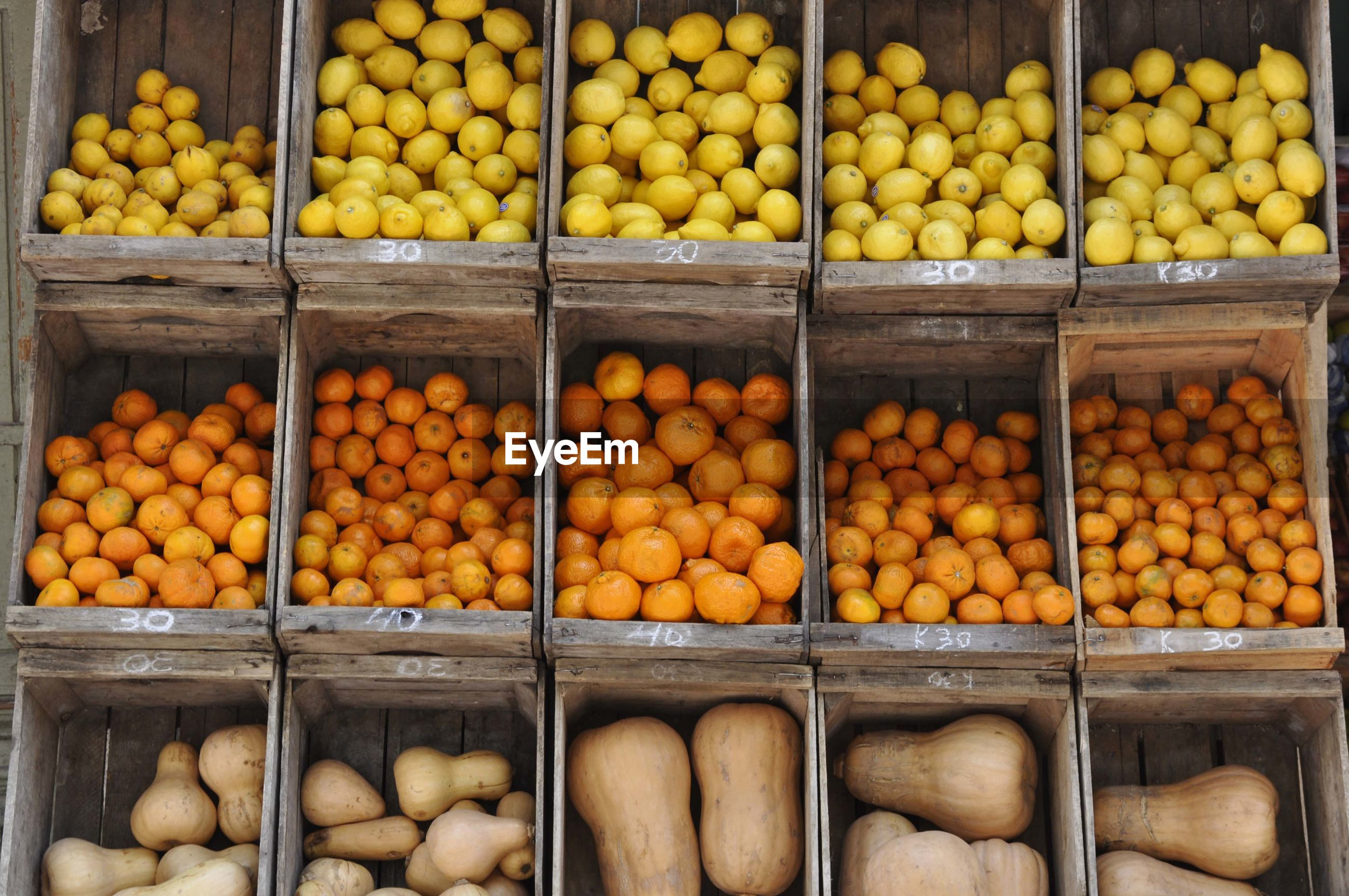Various fruits for sale in market