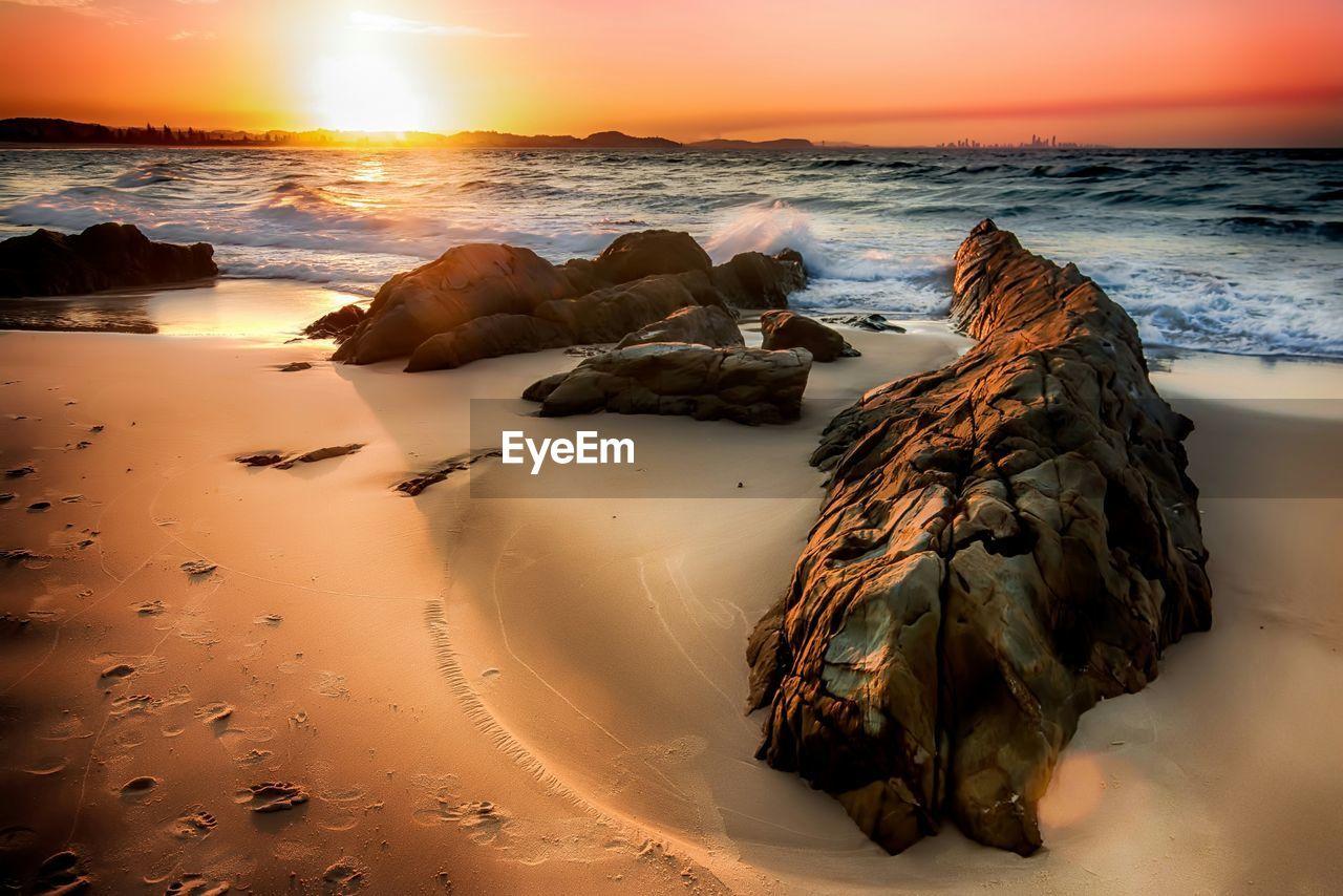 Rocky Beach At Sunset
