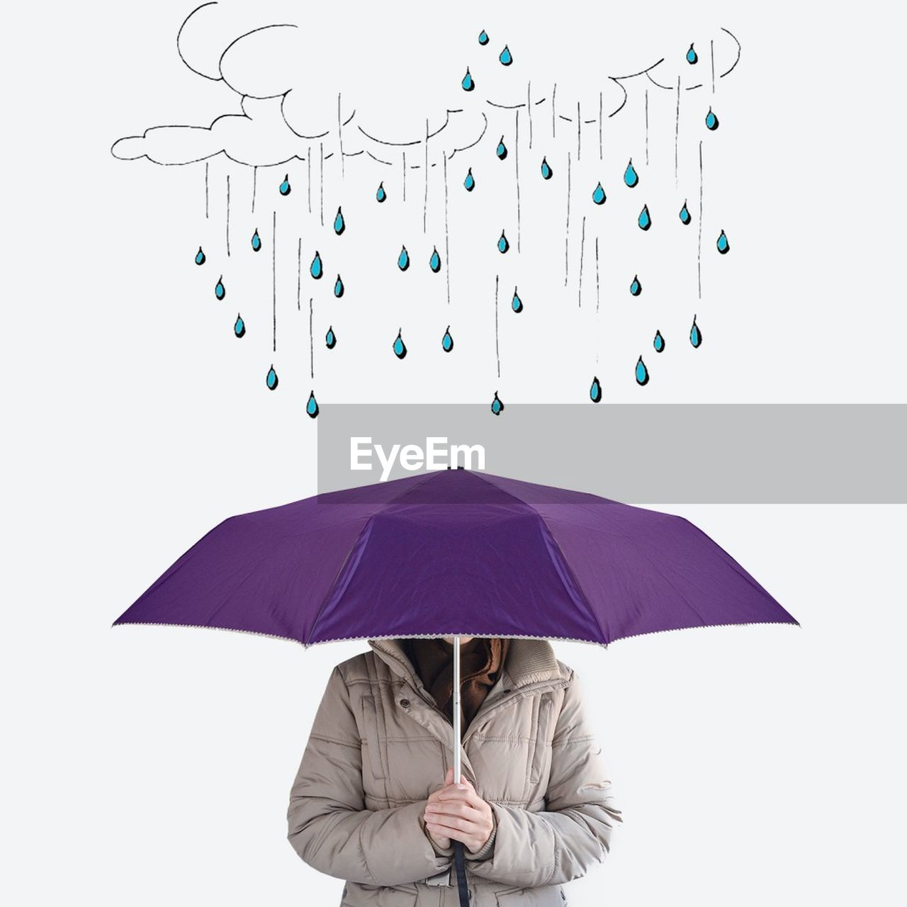 Digital Composite Image Of Woman Holding Umbrella With Raindrops On White Background