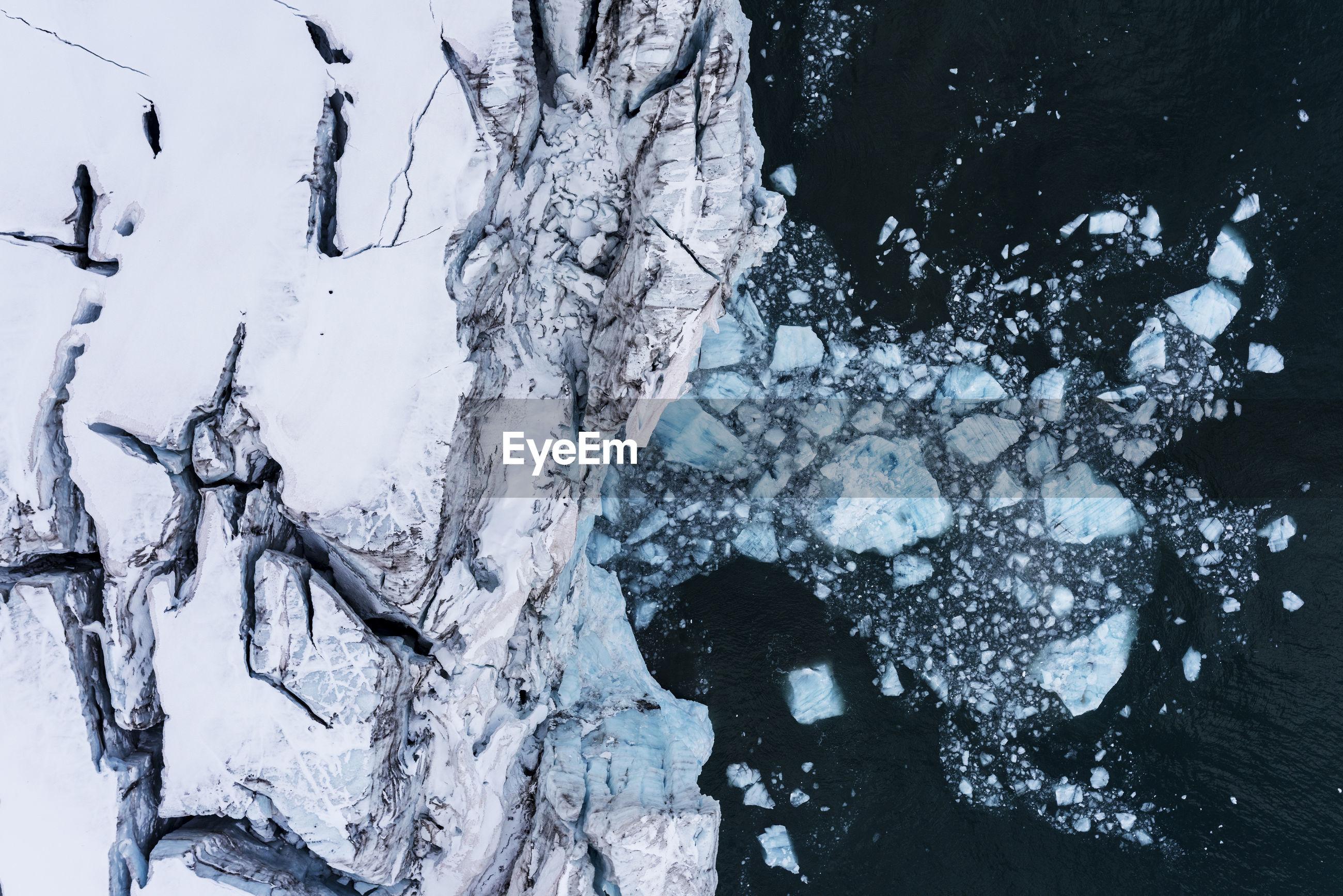 High angle view of glaciers