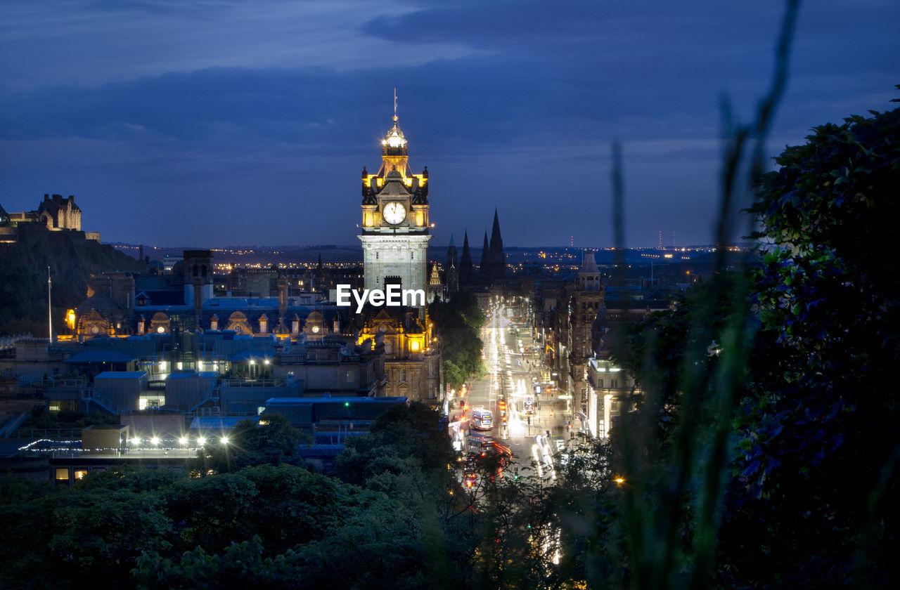Illuminated Tower Of Balmoral Hotel At Night