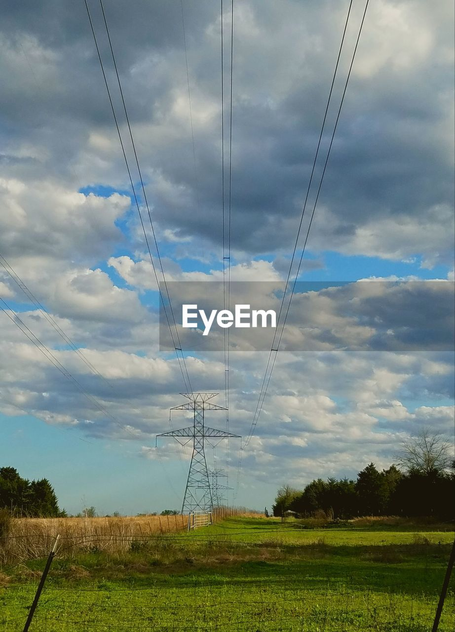 cloud - sky, sky, cable, electricity, technology, power supply, power line, landscape, land, electricity pylon, field, tranquility, no people, nature, tranquil scene, environment, plant, fuel and power generation, beauty in nature, scenics - nature, outdoors, telephone line, complexity