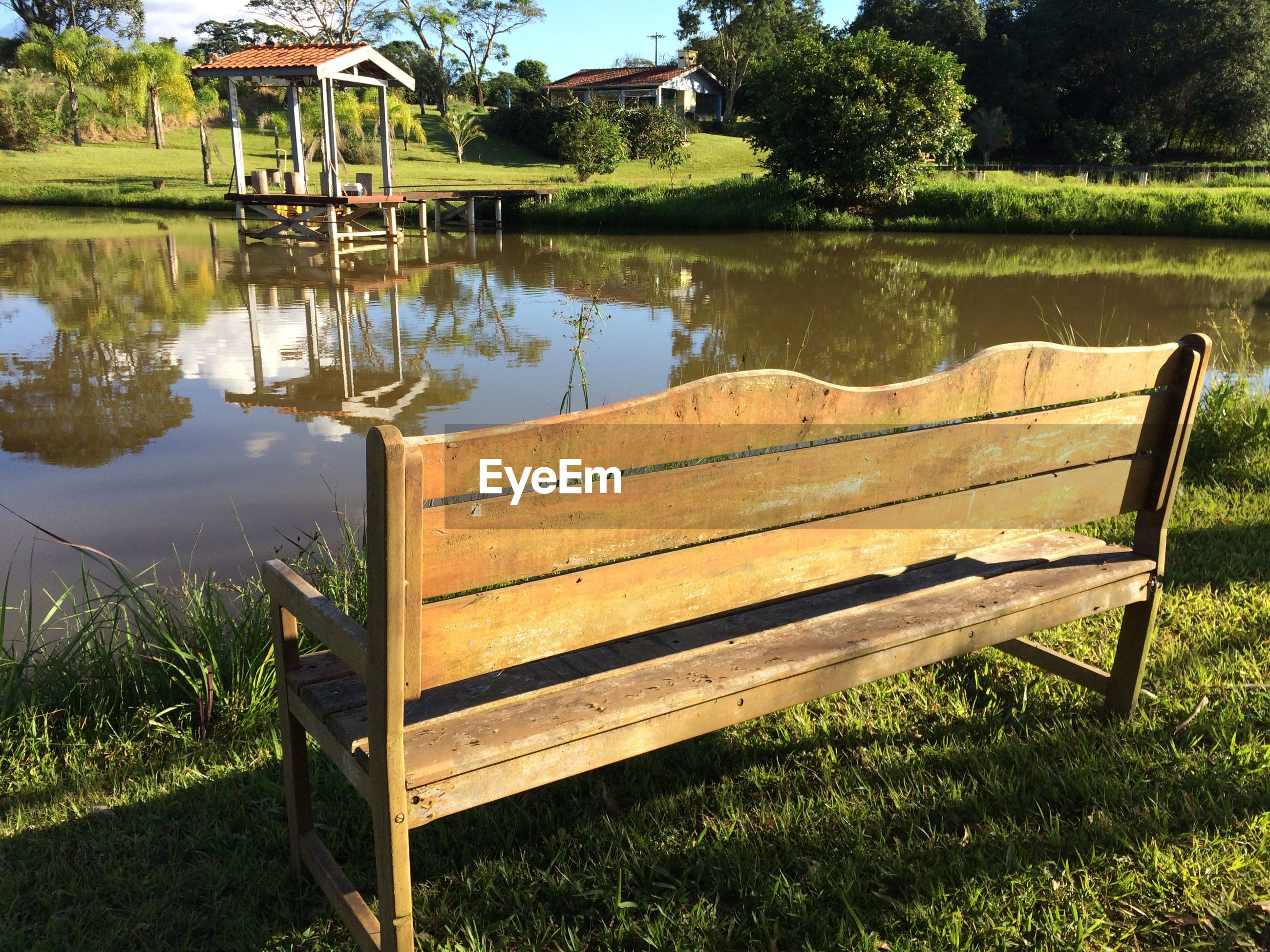 Empty bench at pond side