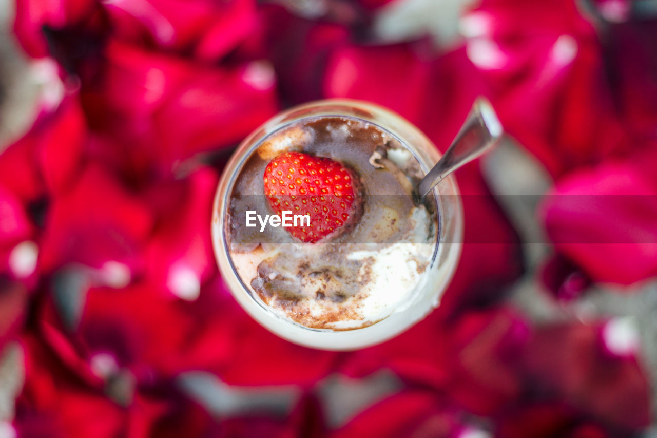 red, freshness, food and drink, close-up, food, fruit, directly above, no people, focus on foreground, eating utensil, kitchen utensil, berry fruit, flower, spoon, high angle view, healthy eating, refreshment, drink, indoors, flowering plant, temptation