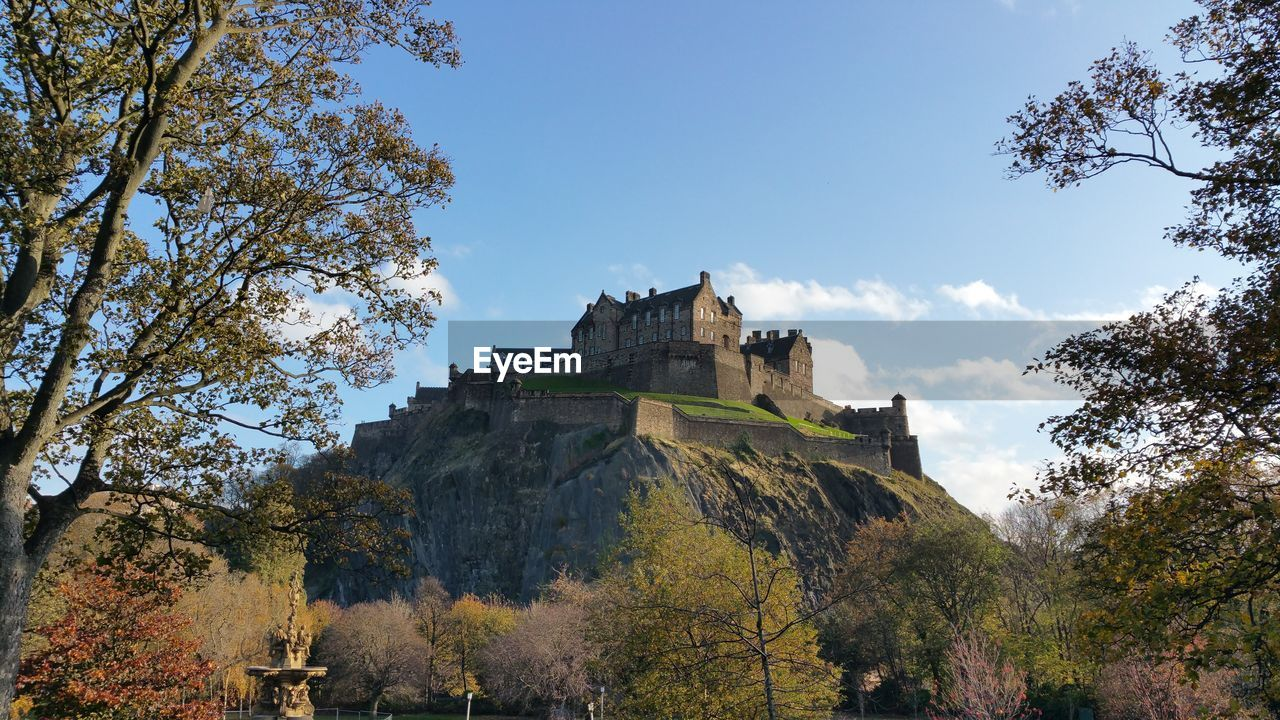 Low Angle View Of Edinburgh Castle Against Sky