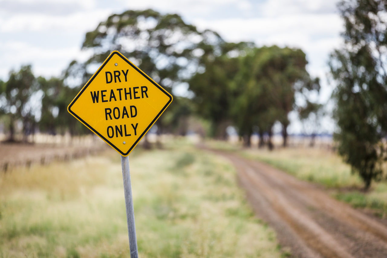 yellow, communication, sign, text, focus on foreground, western script, plant, road sign, tree, railroad track, track, warning sign, transportation, no people, rail transportation, day, road, nature, safety, sky, warning symbol