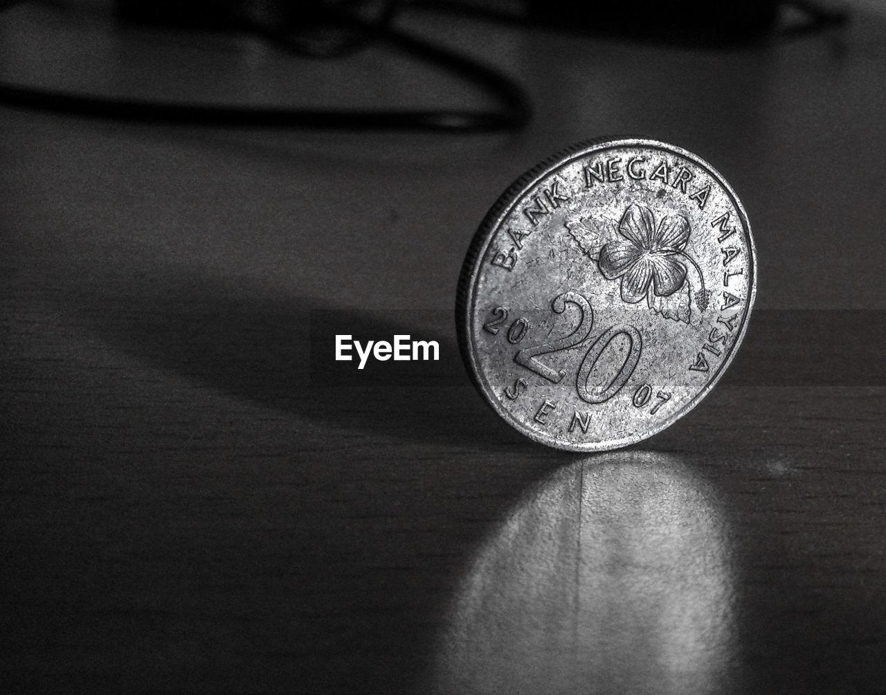 Close-up of Malaysian coin