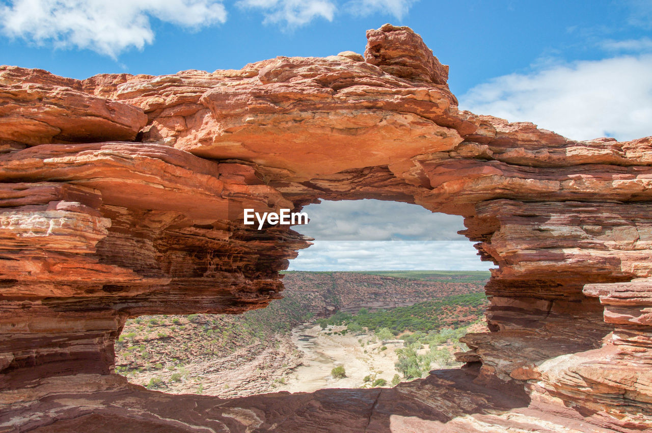 View of rock formation against cloudy sky