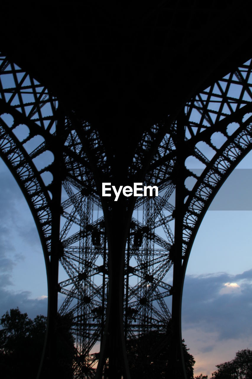 Low Angle View Of Eiffel Tower Against Sky In City