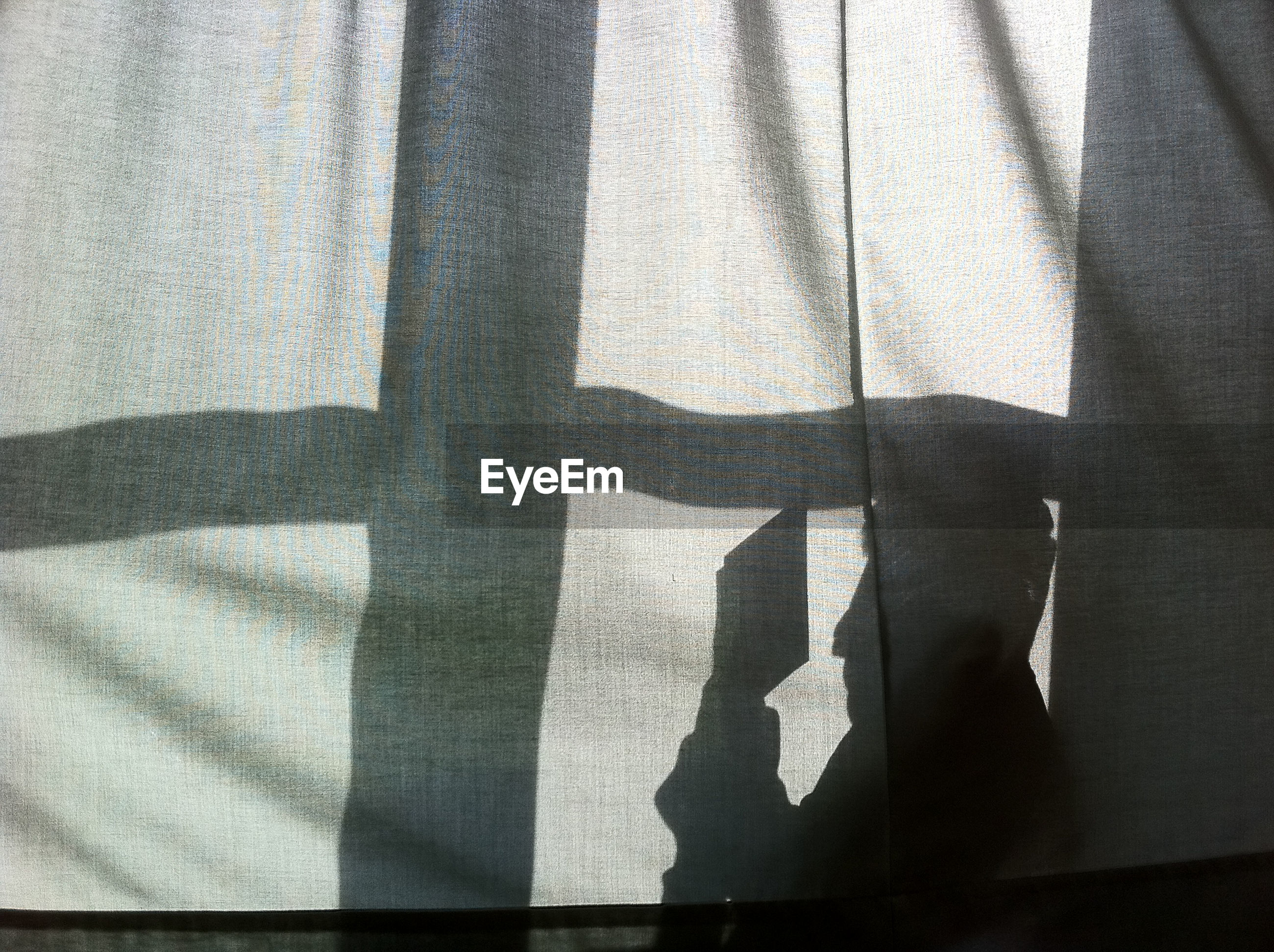 Shadow of person reading book behind curtain