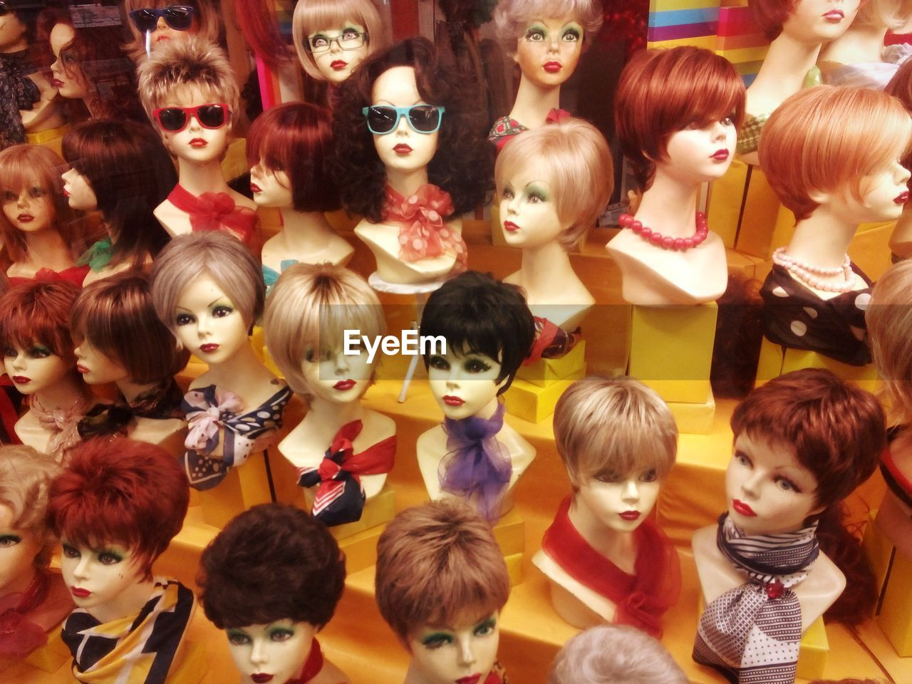 childhood, real people, child, women, variation, choice, girls, indoors, toy, portrait, group of people, representation, female likeness, looking at camera, boys, human representation, large group of objects, lifestyles, bangs, hairstyle, innocence