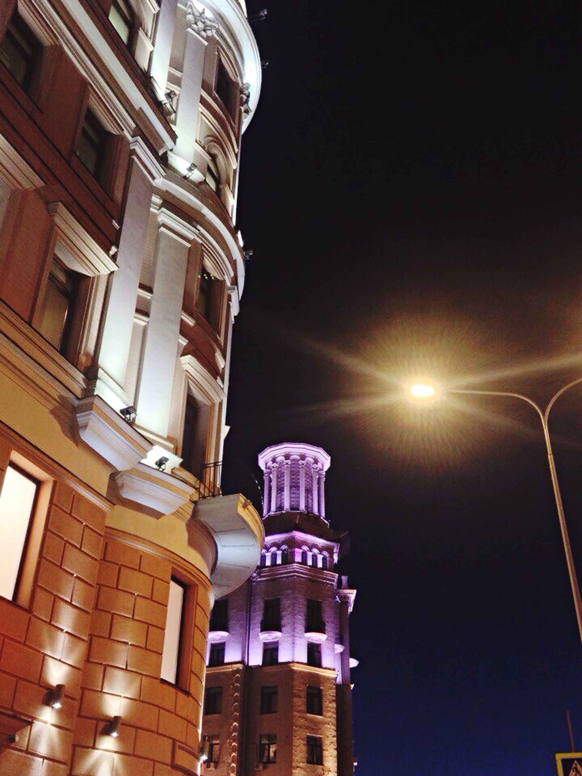 architecture, building exterior, low angle view, built structure, illuminated, night, no people, outdoors, sky, city