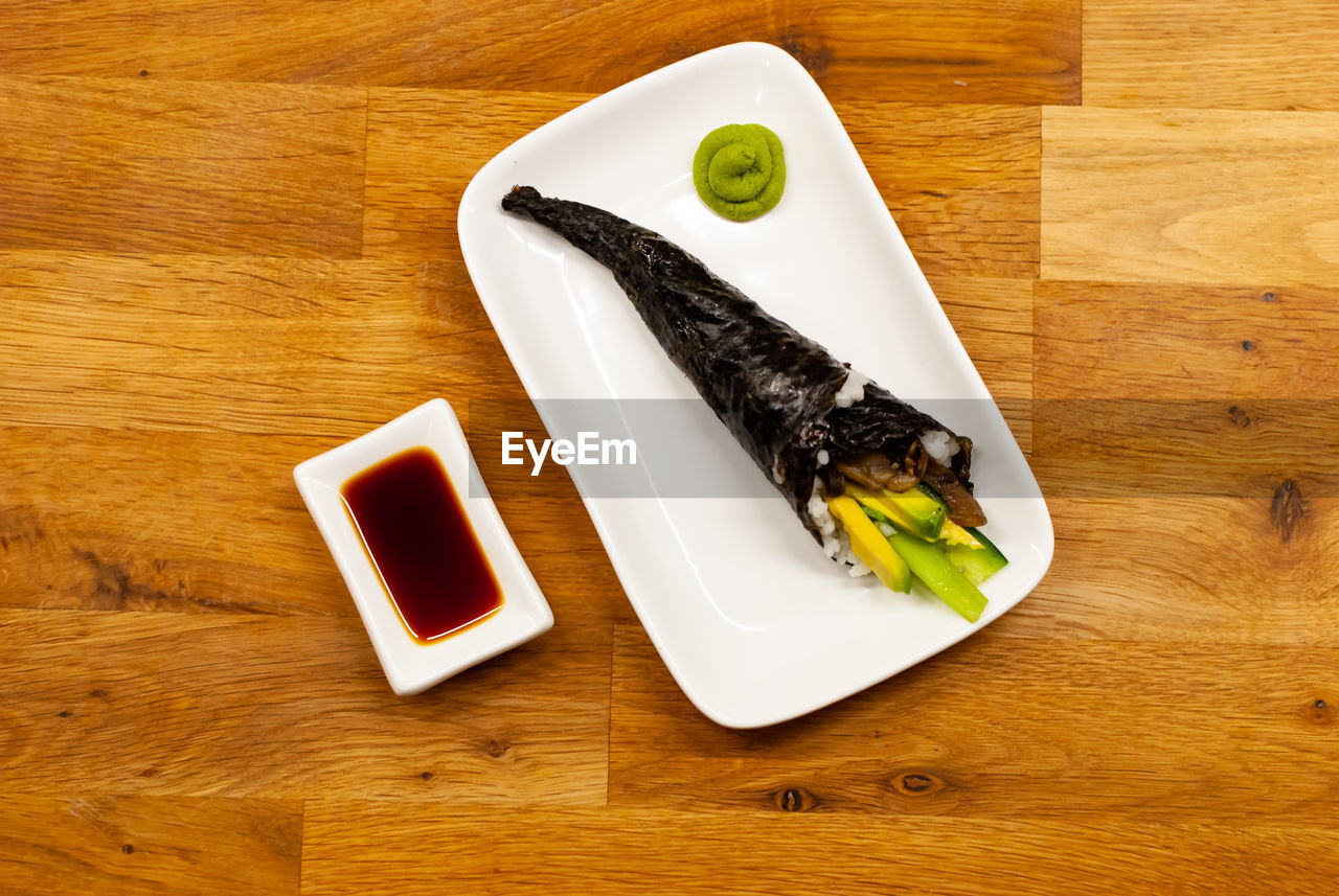 food and drink, food, table, healthy eating, ready-to-eat, still life, wood - material, indoors, freshness, plate, no people, serving size, directly above, high angle view, wellbeing, indulgence, close-up, vegetable, sauce, fruit, snack, temptation, soy sauce, japanese food