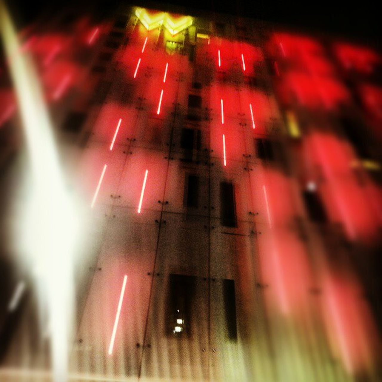 night, illuminated, red, no people, indoors, architecture, close-up