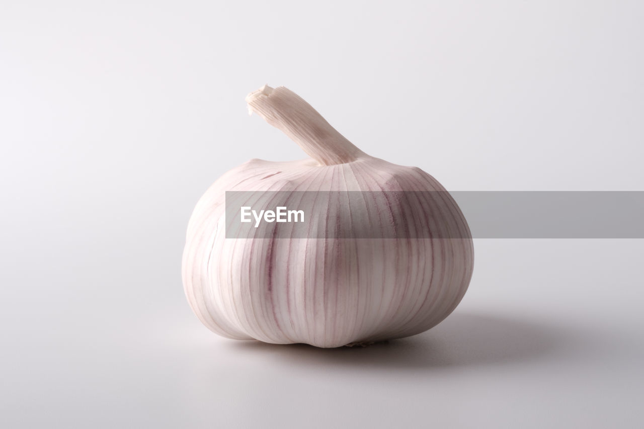 studio shot, garlic, food, spice, food and drink, white background, freshness, close-up, still life, indoors, ingredient, vegetable, no people, wellbeing, healthy eating, single object, copy space, raw food, cut out, onion