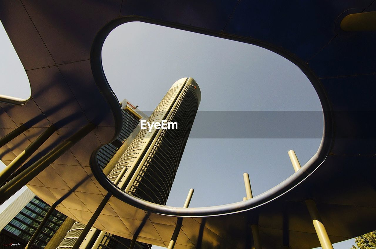 architecture, built structure, low angle view, modern, building exterior, city, no people, day, skyscraper, outdoors, sky