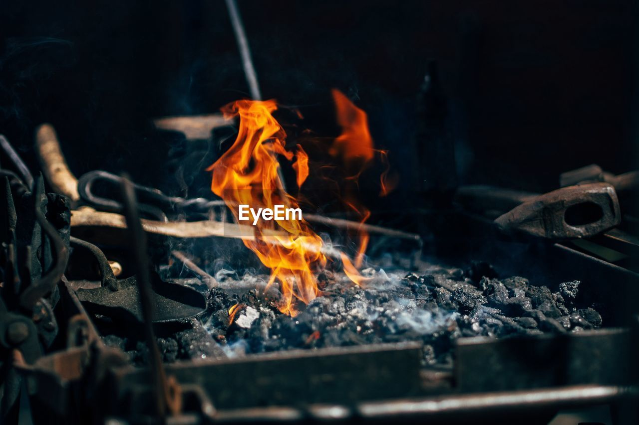 High Angle View Of Fire In Barbecue