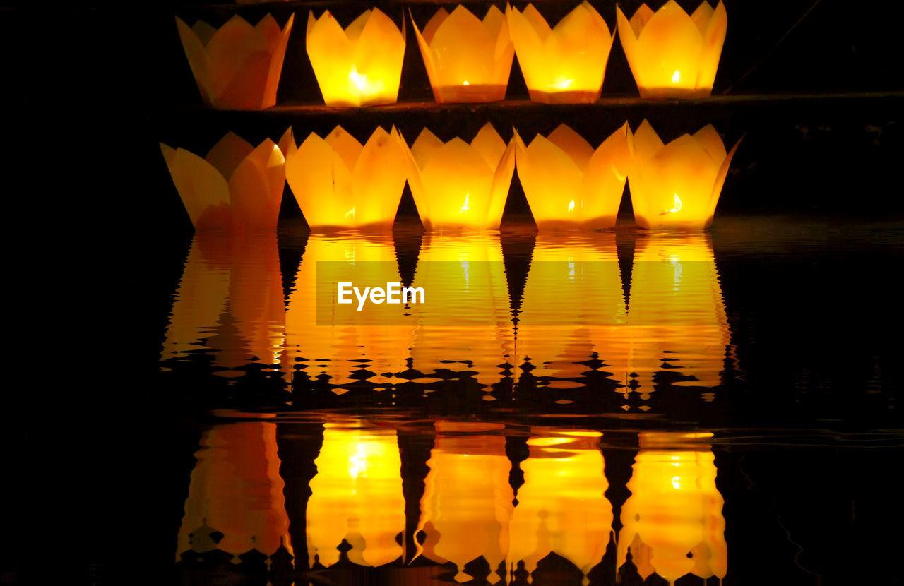 reflection, illuminated, night, sunset, no people, waterfront, outdoors, water, yellow, close-up, sky