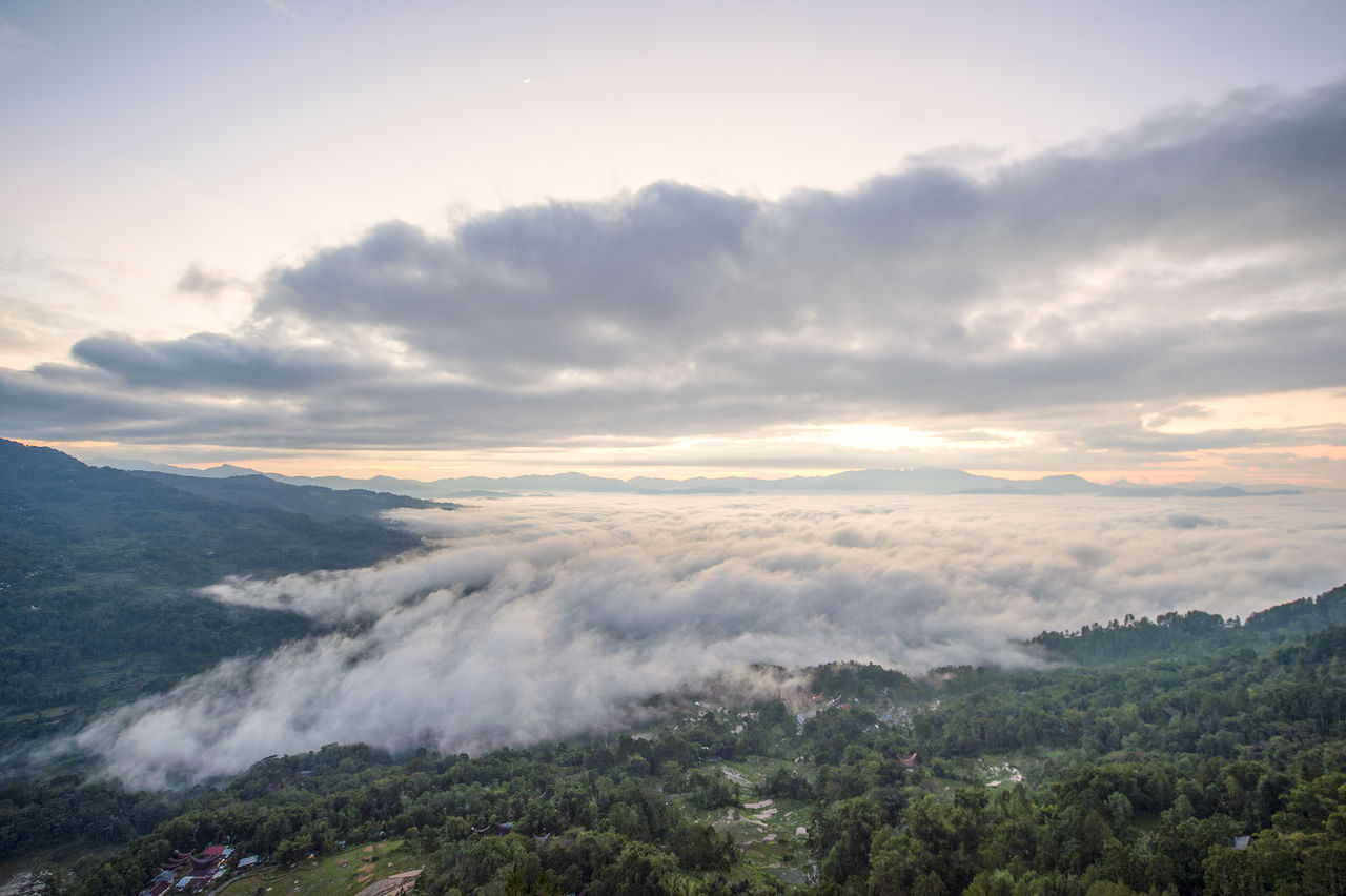 cloud - sky, sky, beauty in nature, scenics - nature, tranquility, tranquil scene, mountain, environment, no people, nature, tree, non-urban scene, plant, idyllic, sunset, landscape, outdoors, day, fog