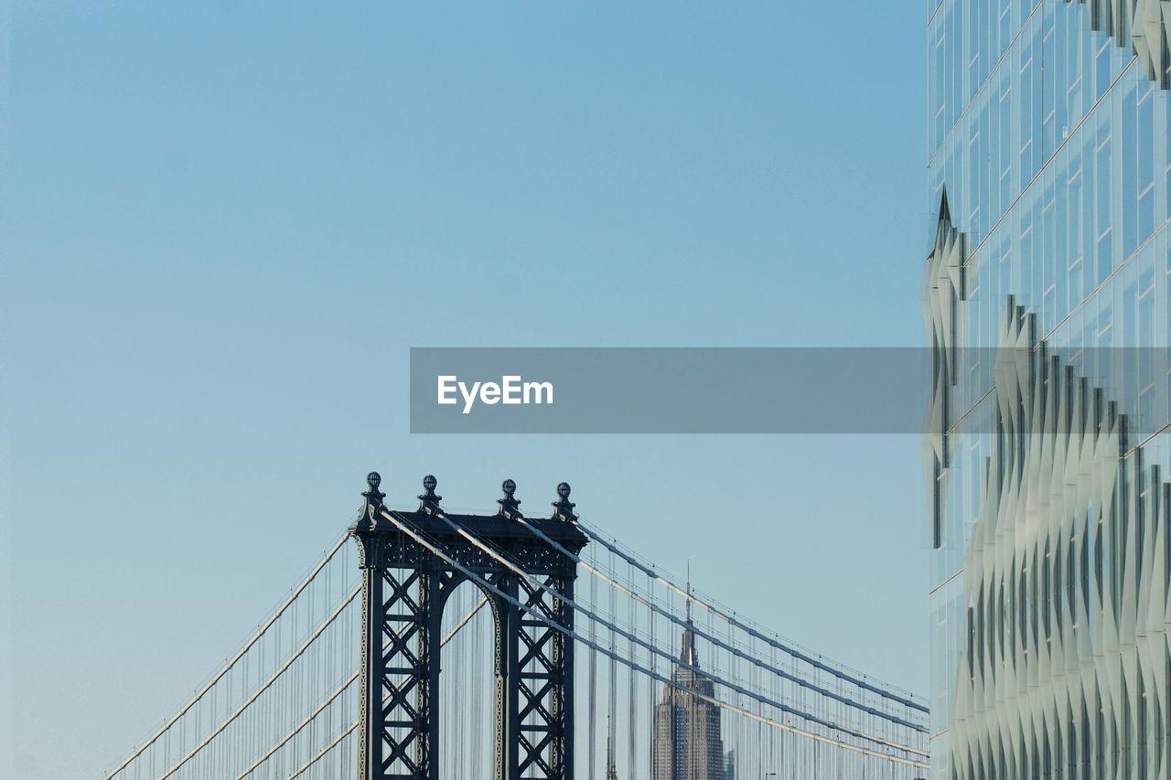 High Section Of Manhattan Bridge Against Clear Sky