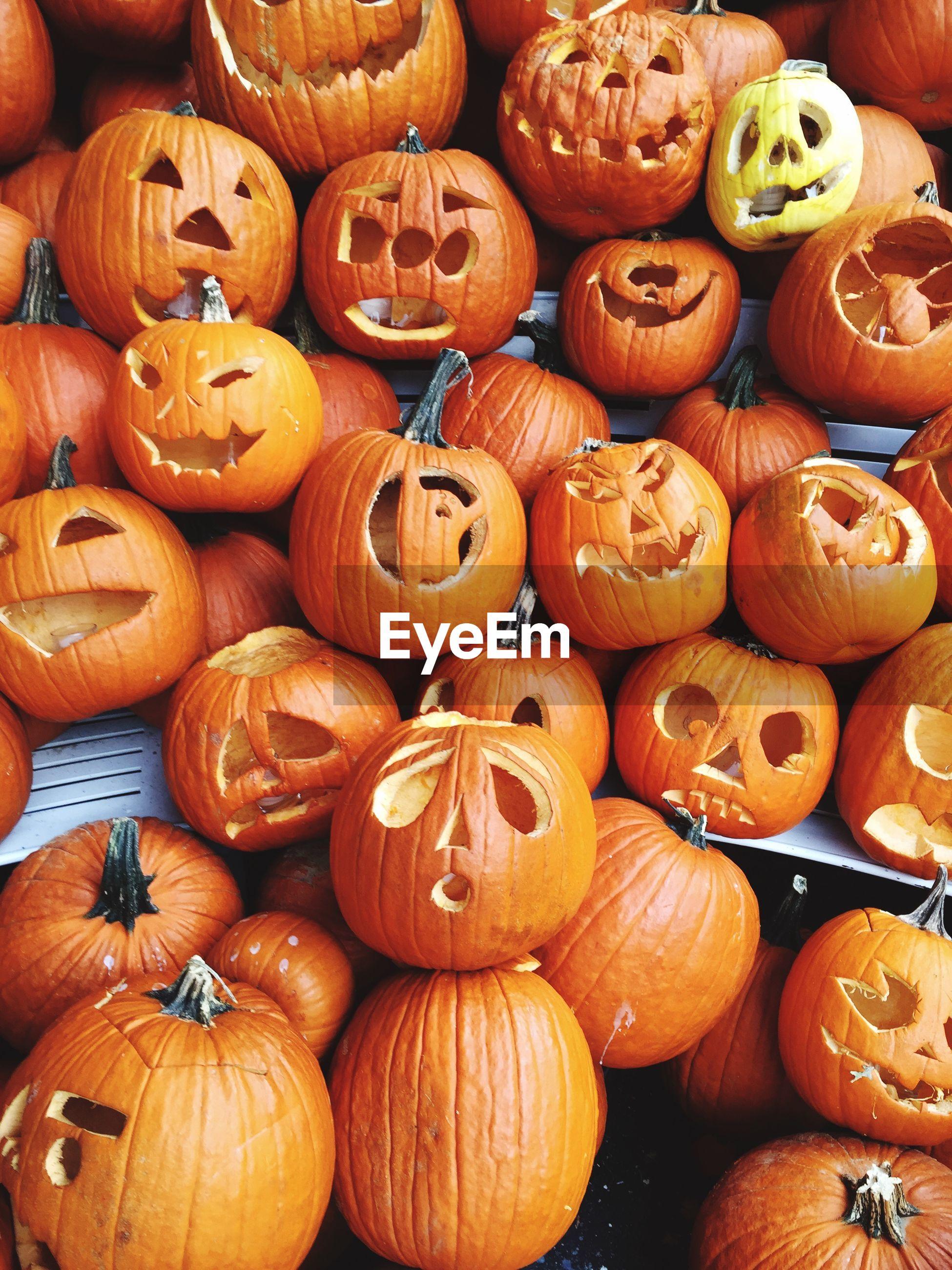 High angle view of halloween pumpkins