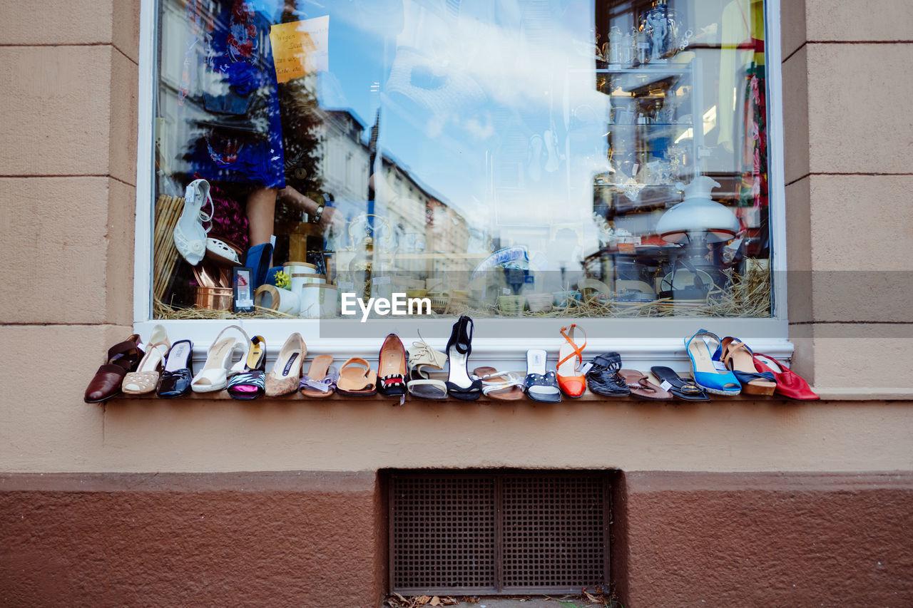 Colorful footwear on store window