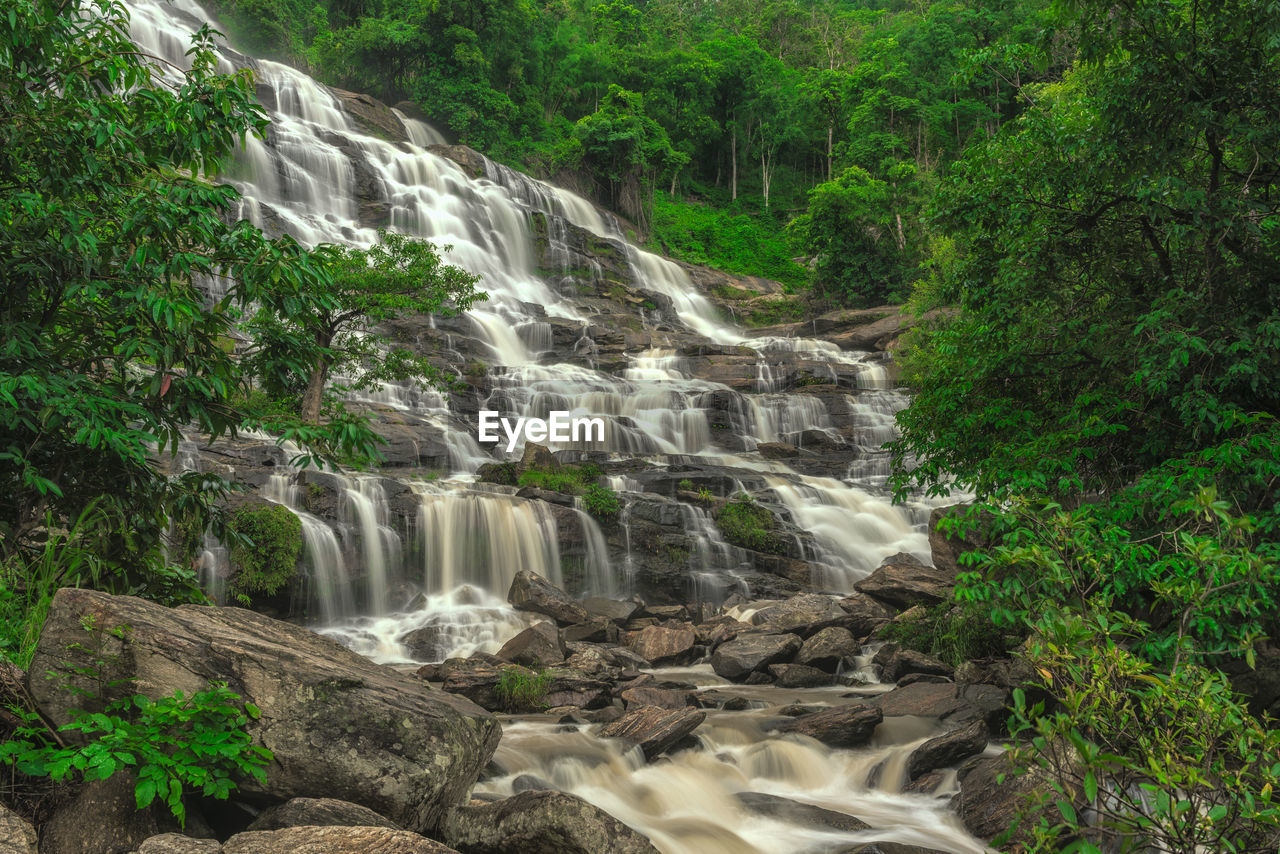 waterfall, motion, flowing water, long exposure, nature, water, blurred motion, scenics, beauty in nature, river, no people, forest, outdoors, tree, day