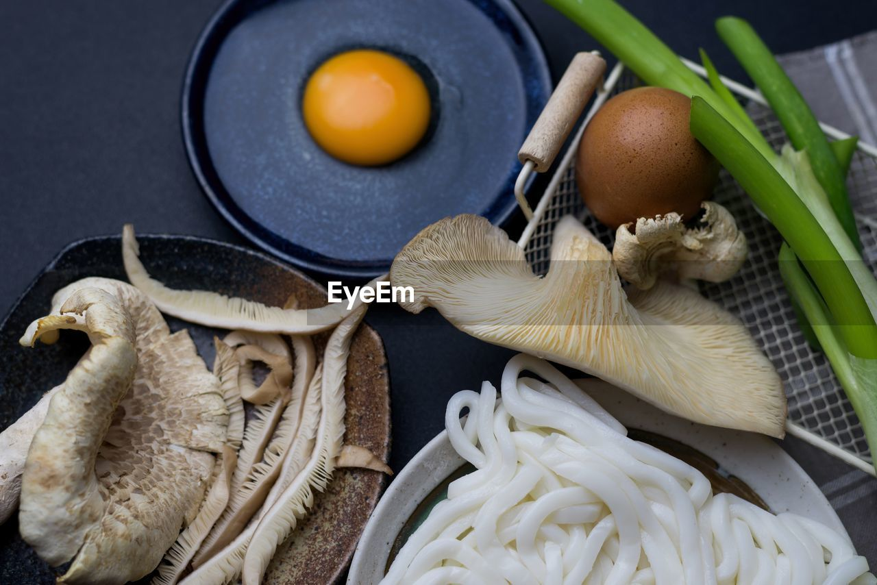 Close-up of mushrooms and the ingredients