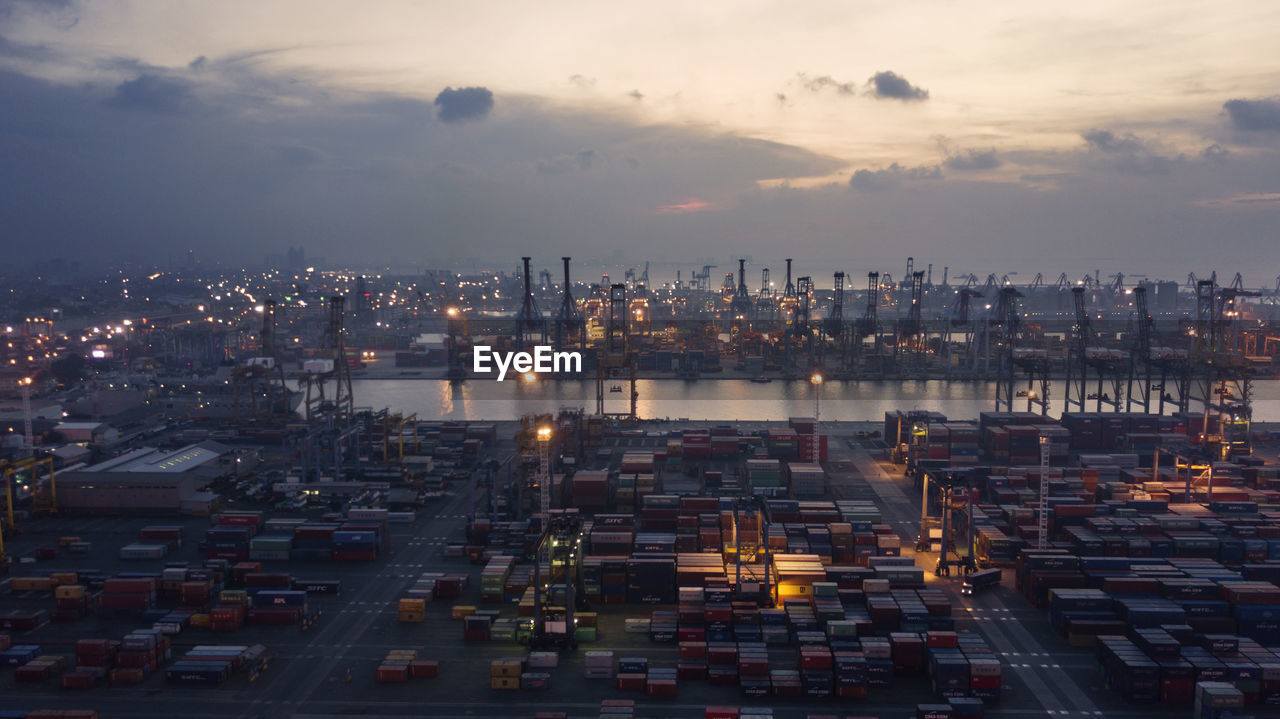 Aerial View Of Commercial Dock During Sunset