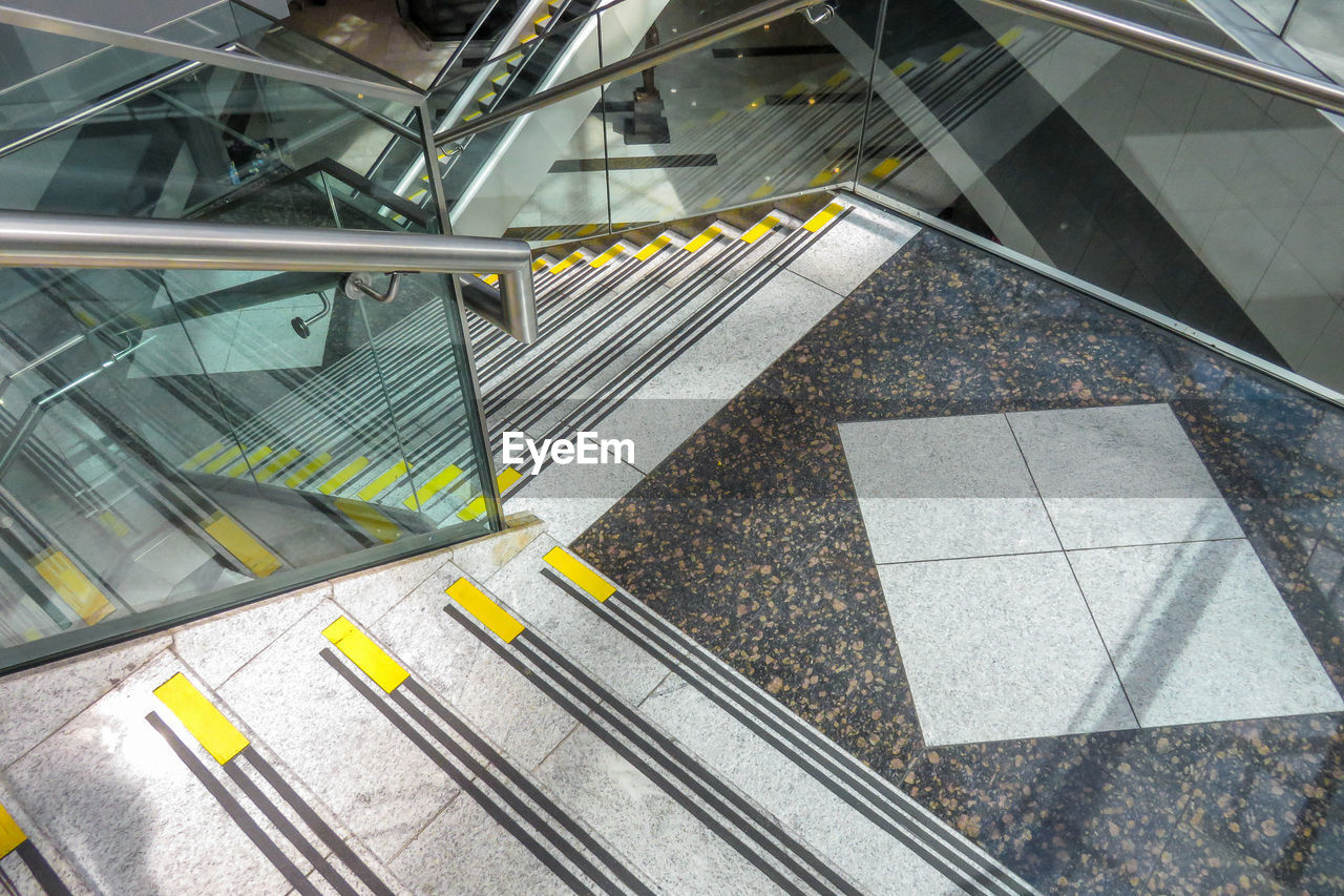 High Angle View Of Empty Steps At Subway Station