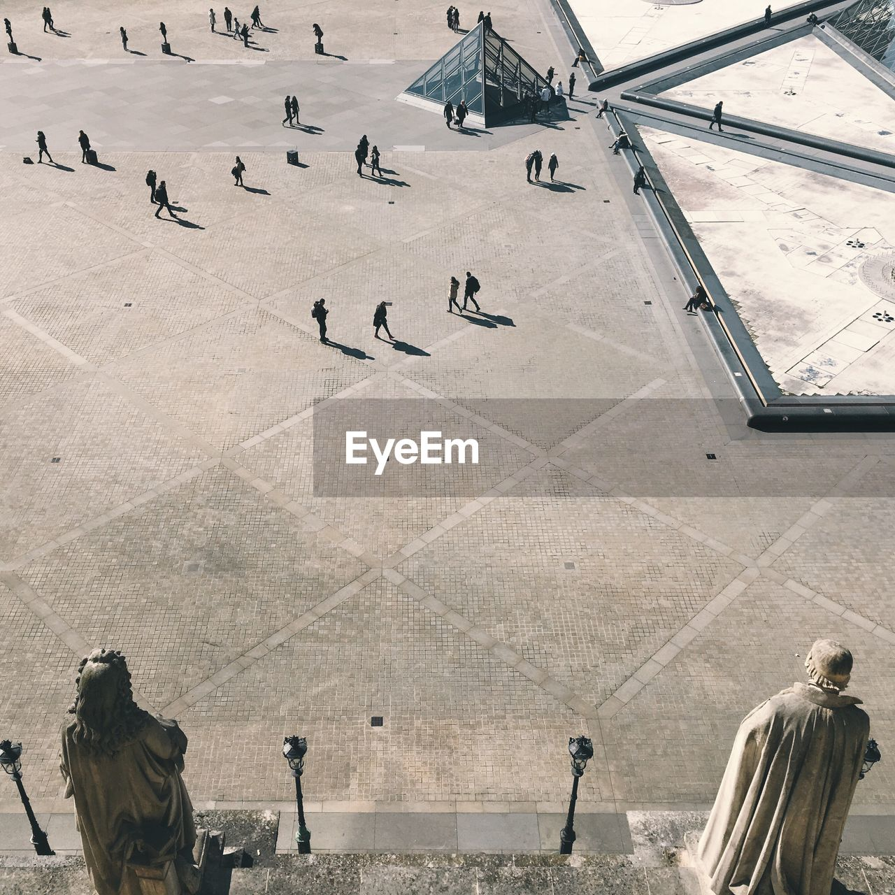 High Angle View Of People At Musee Du Louvre