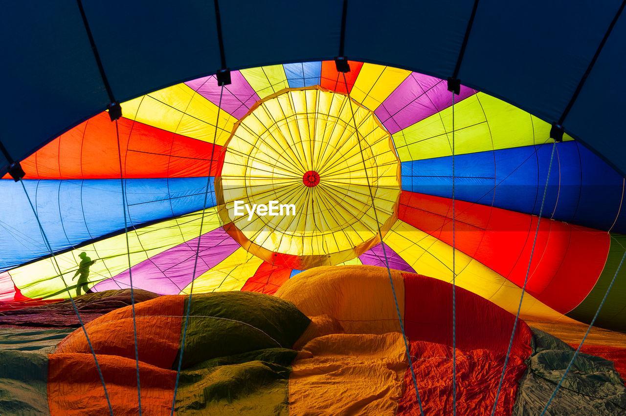 Directly Below Shot Of Hot Air Balloons