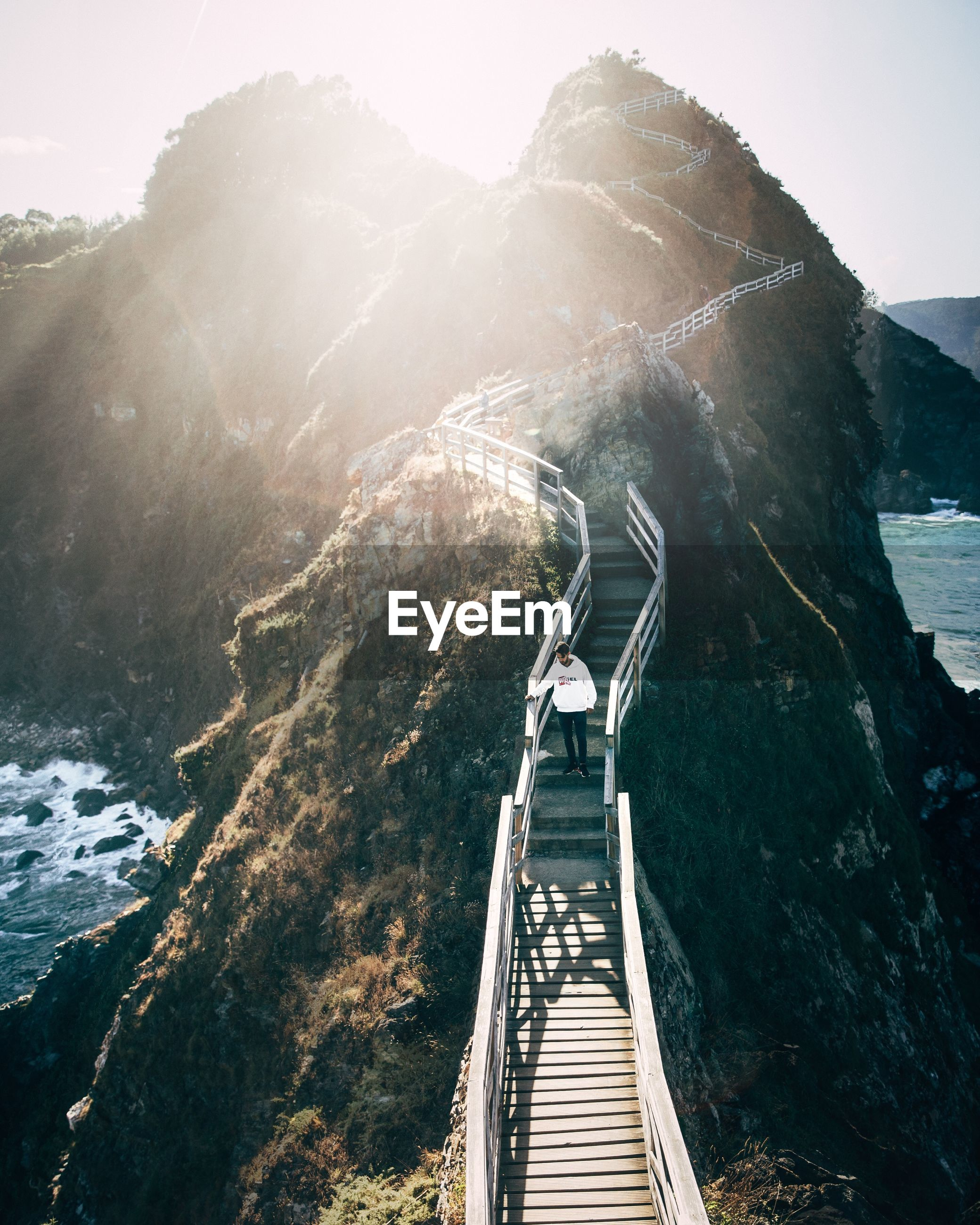 HIGH ANGLE VIEW OF GOLDEN GATE BRIDGE OVER WATER