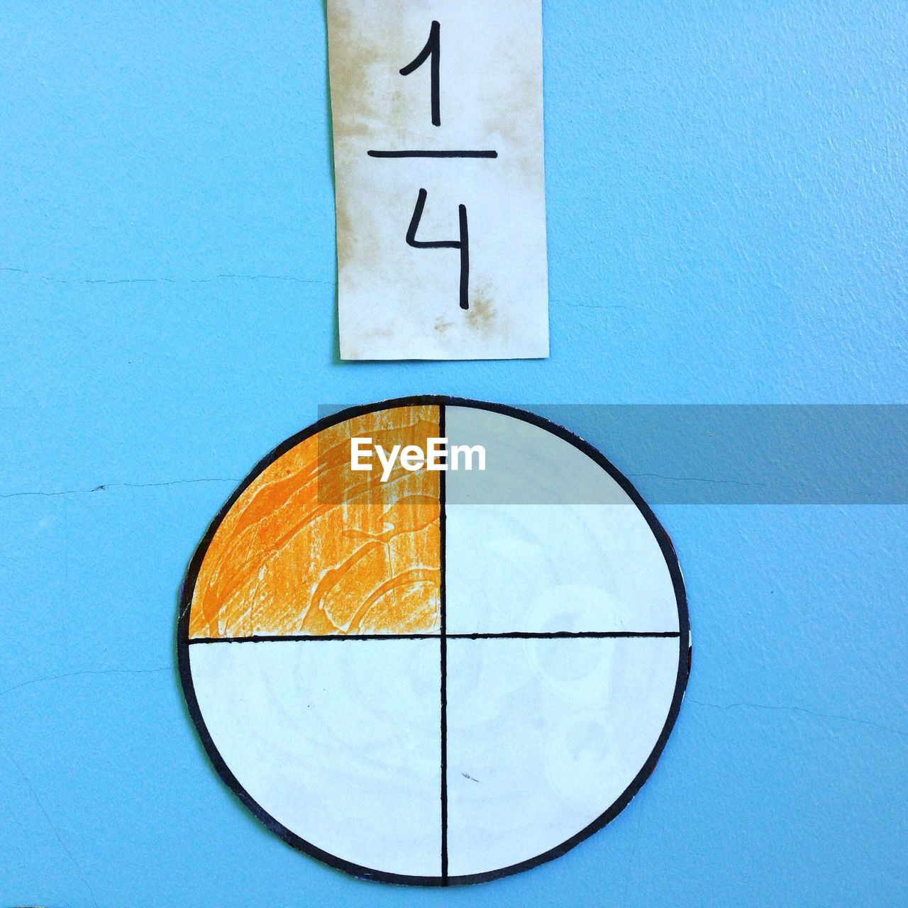 Close-up of mathematical symbol with number on blue wall