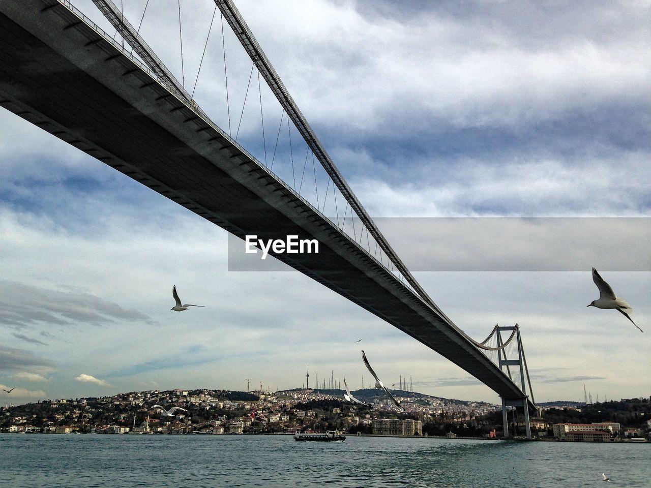 Suspension bridge across river