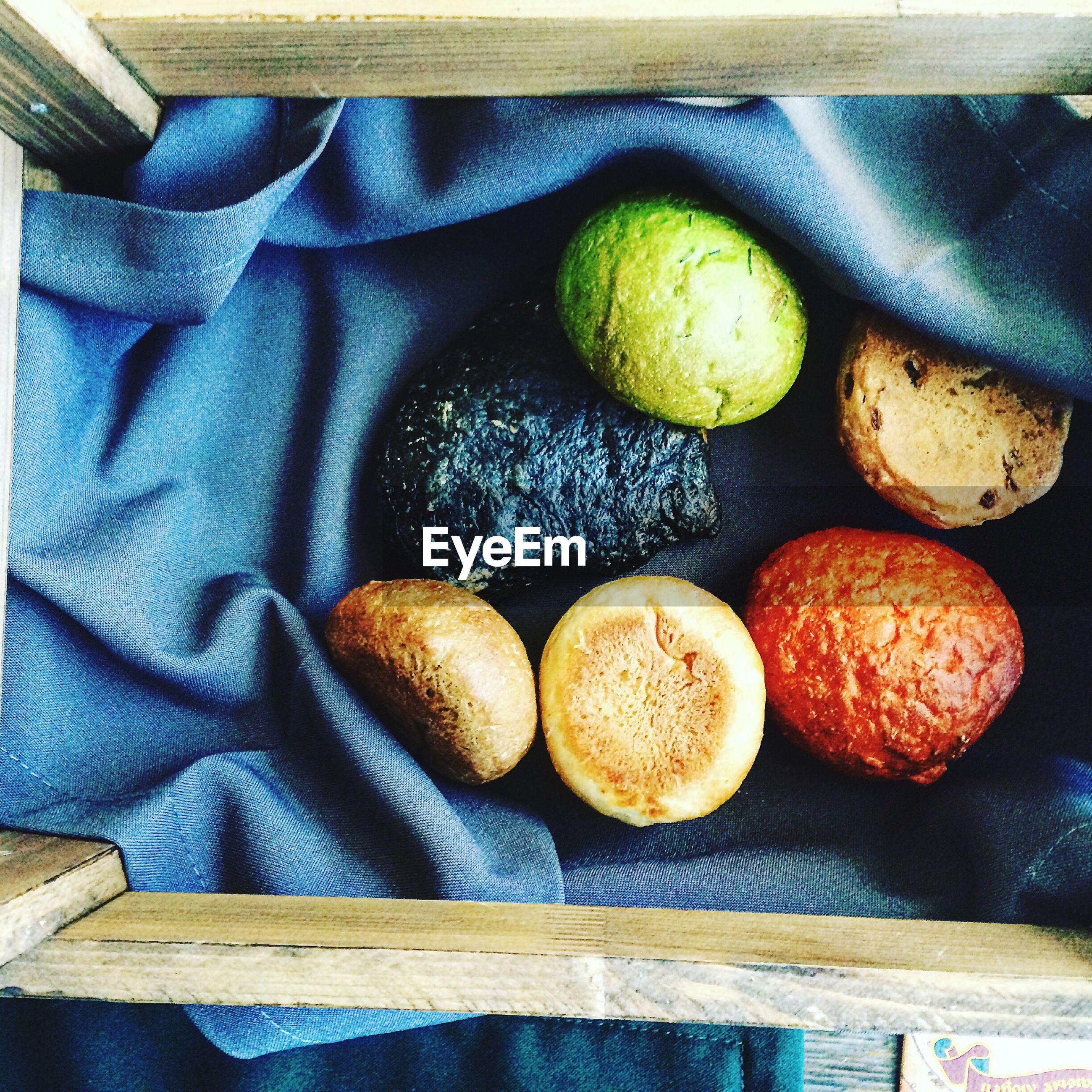 High angle view of food on textile