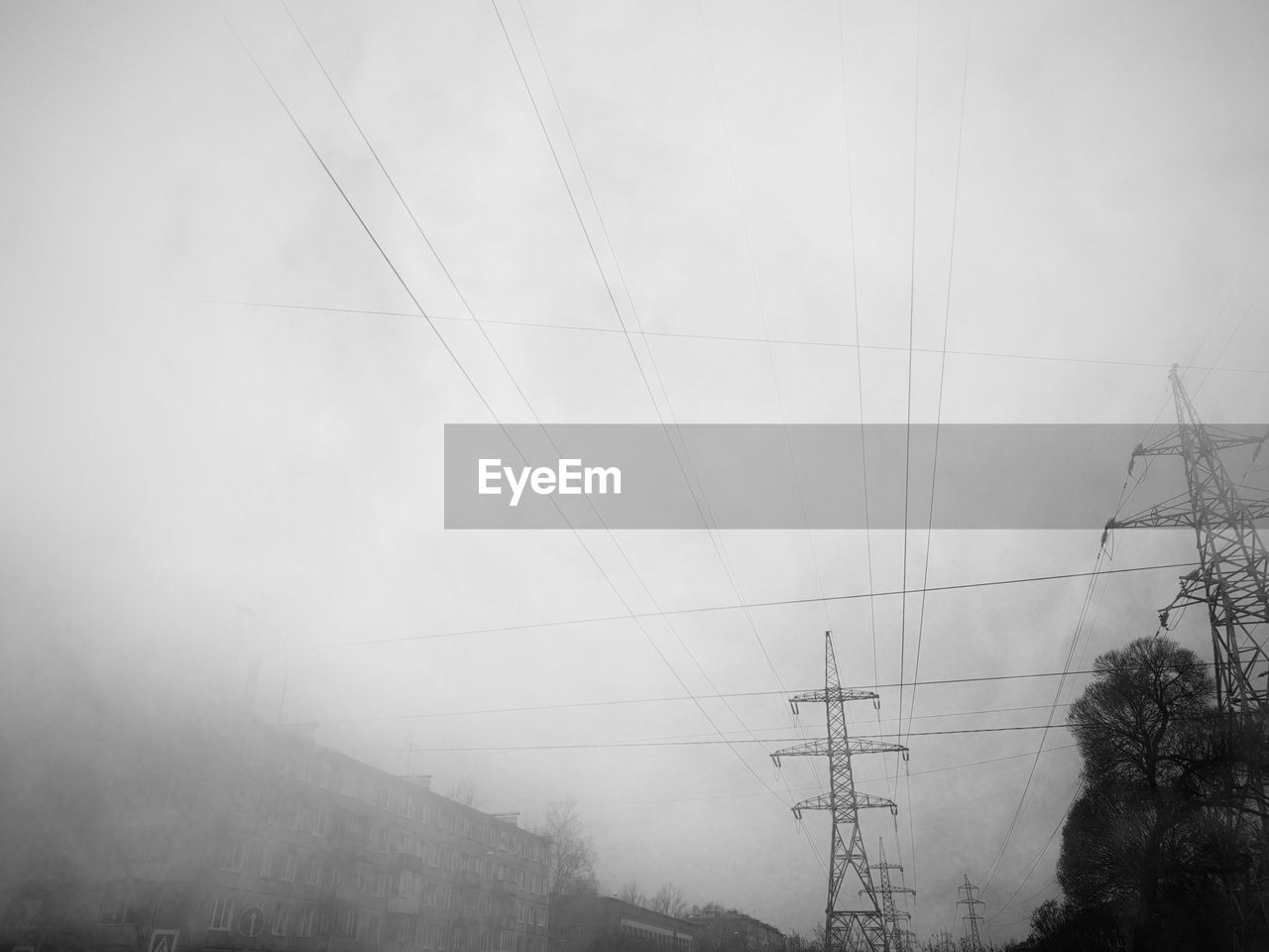 cable, electricity, power line, electricity pylon, technology, connection, fog, fuel and power generation, power supply, sky, no people, nature, low angle view, cloud - sky, tree, outdoors, day, plant, tranquility, complexity, telephone line, electrical component