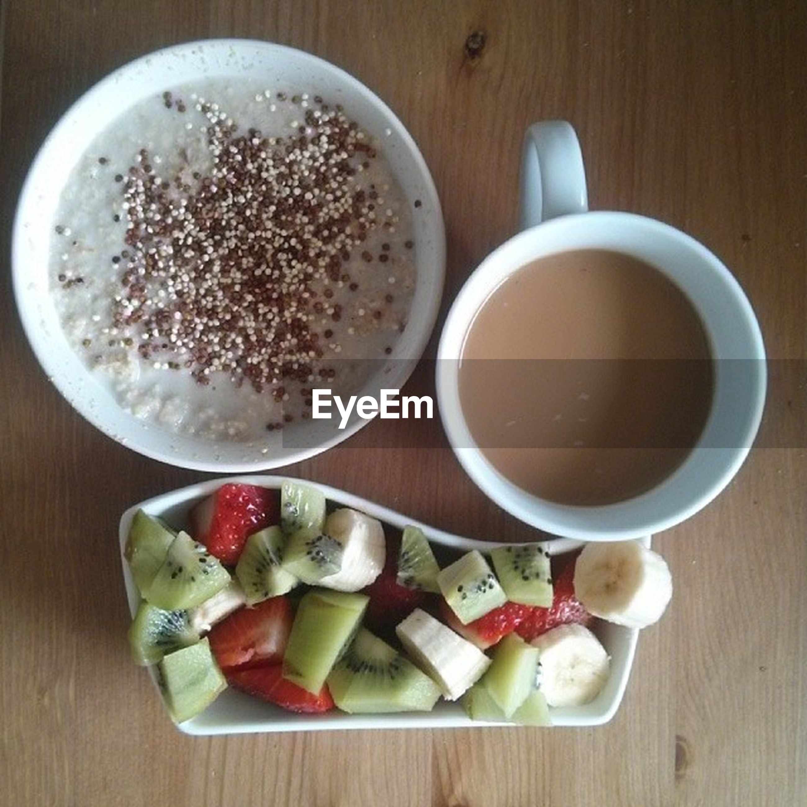 food and drink, food, indoors, freshness, table, still life, healthy eating, plate, ready-to-eat, high angle view, directly above, bowl, breakfast, drink, refreshment, bread, serving size, meal, spoon, wood - material