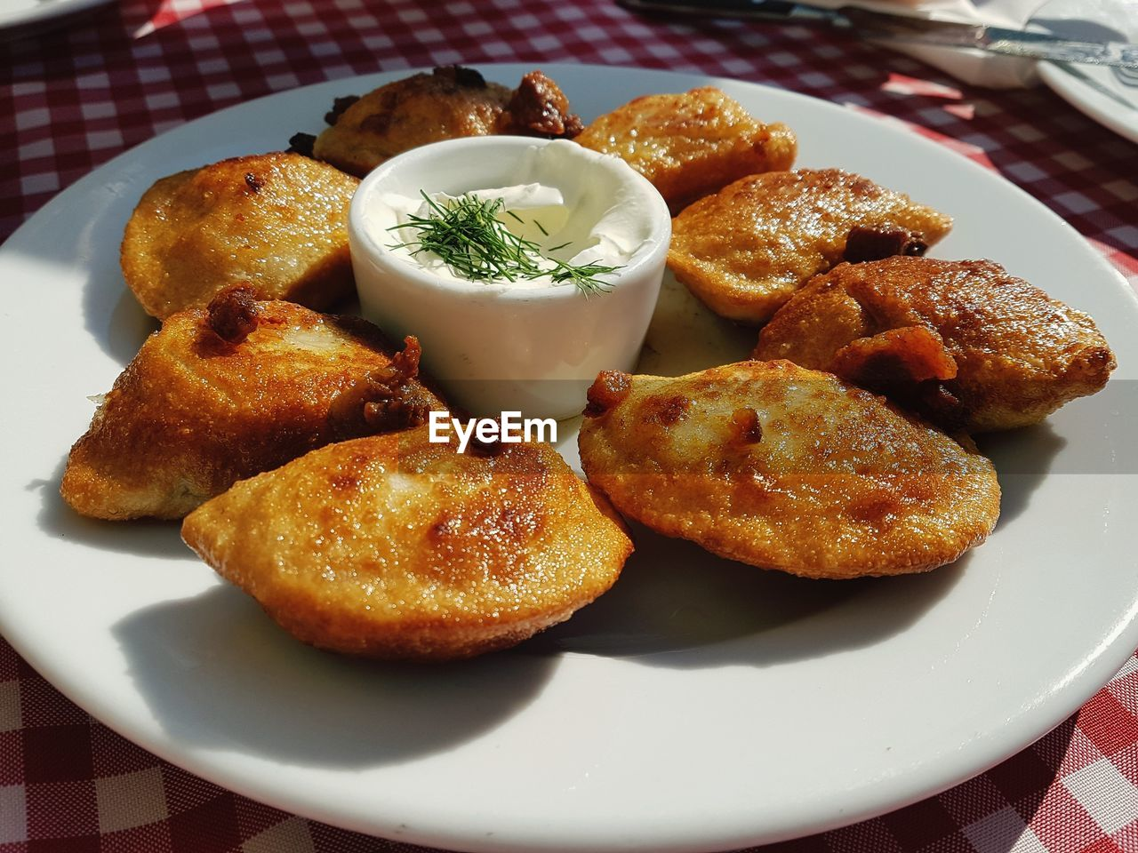 food and drink, food, ready-to-eat, plate, serving size, fried, freshness, indoors, close-up, appetizer, still life, no people, table, deep fried, meat, healthy eating, indulgence, snack, high angle view, dip, savory sauce, garnish, temptation, fried chicken