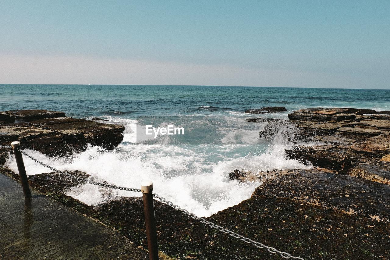 water, sea, motion, horizon over water, horizon, sky, beauty in nature, wave, scenics - nature, power in nature, power, splashing, nature, no people, aquatic sport, sport, day, beach, hitting, breaking, outdoors