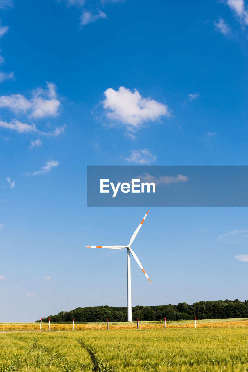 environment, turbine, field, fuel and power generation, renewable energy, alternative energy, environmental conservation, wind turbine, land, sky, wind power, landscape, nature, cloud - sky, rural scene, plant, beauty in nature, day, blue, growth, no people, outdoors, sustainable resources