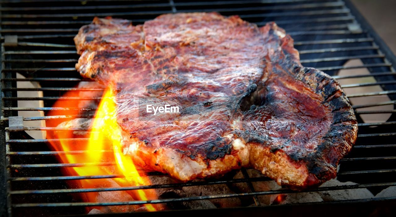 Detail shot of meat on grill