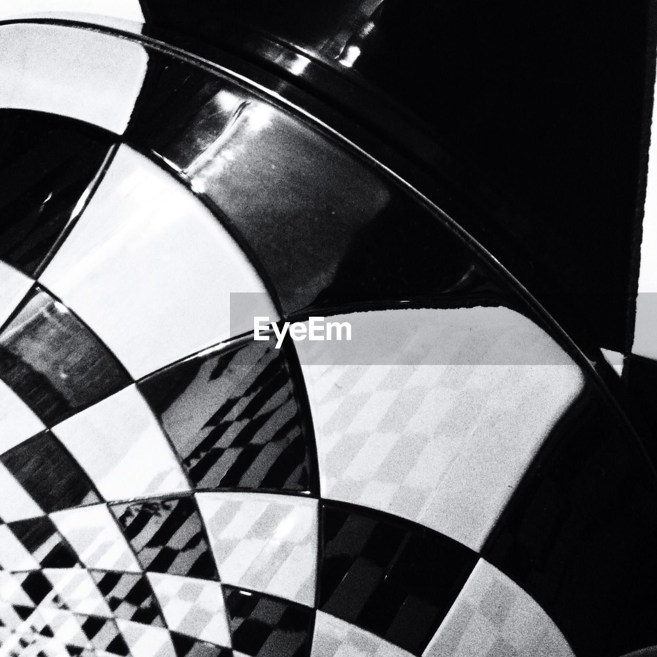 Detail shot of chequered floor