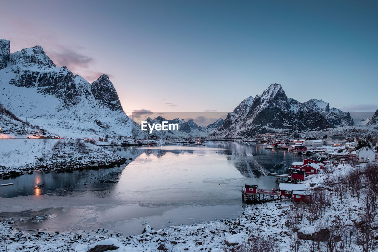 cold temperature, winter, snow, water, sky, scenics - nature, beauty in nature, tranquil scene, tranquility, frozen, mountain, lake, nature, ice, snowcapped mountain, non-urban scene, mountain range, no people, floating on water