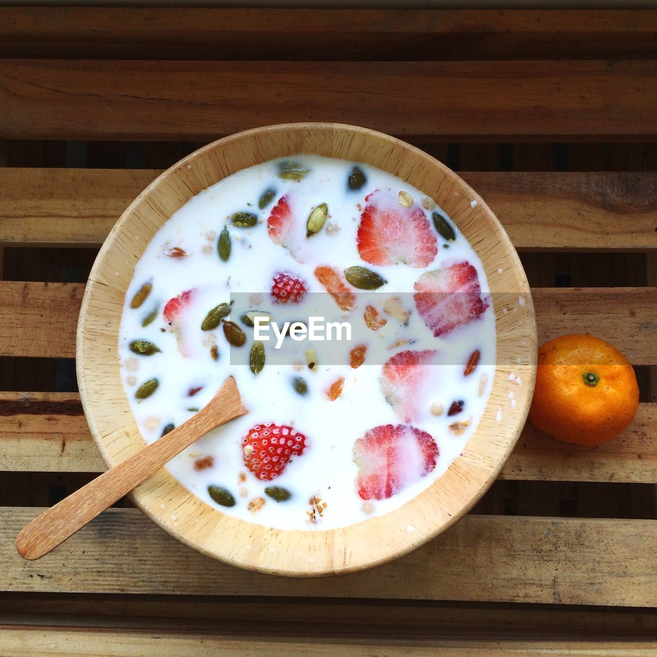 Directly Above Shot Of Breakfast Served In Bowl On Wooden Table