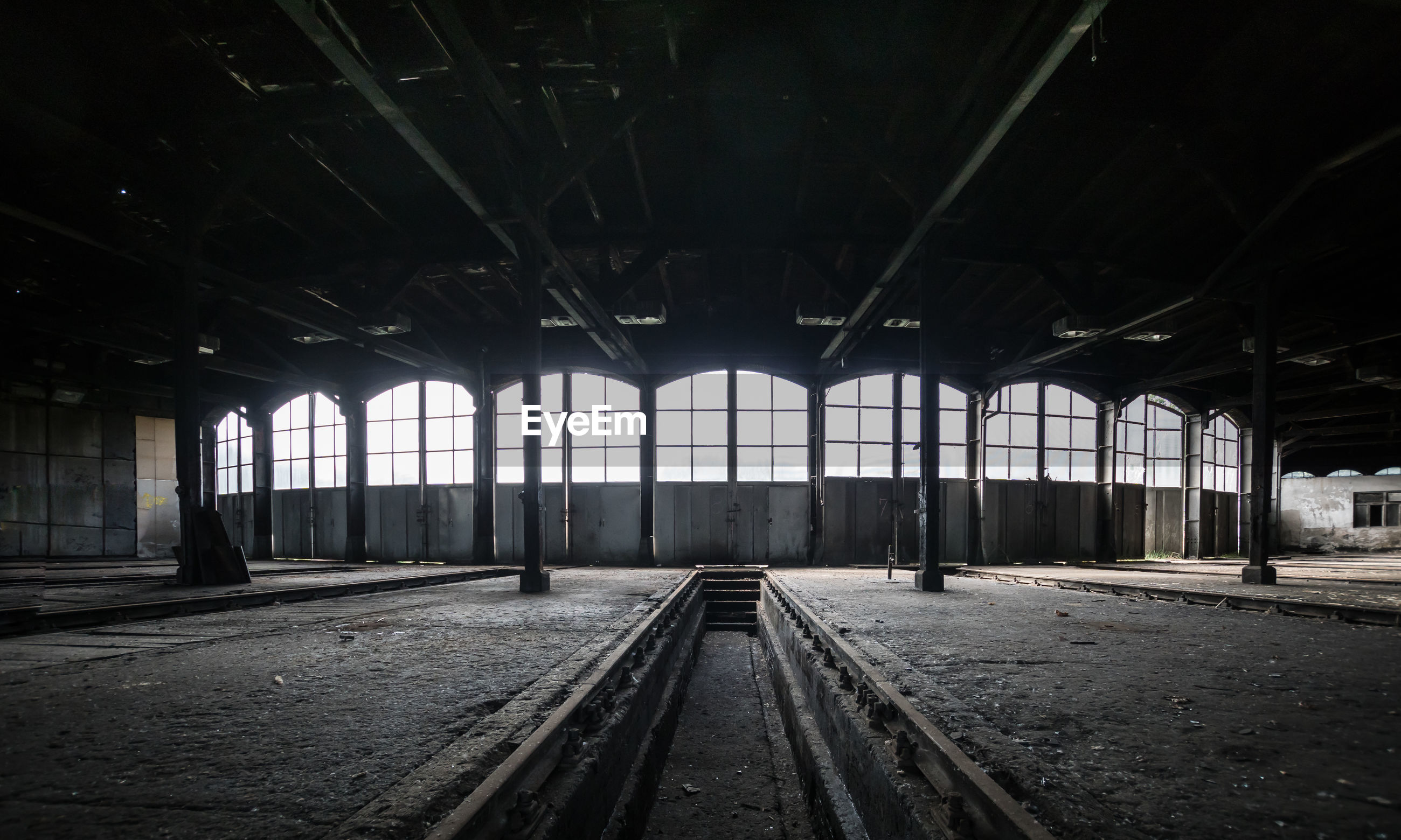 Railroad track at abandoned shed